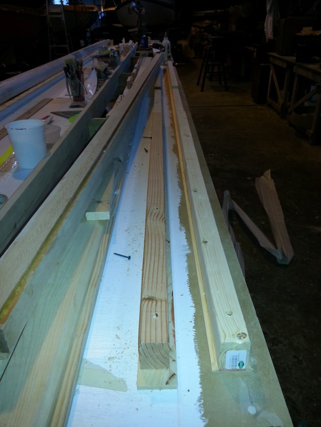 Close up of jig and glued up topmast