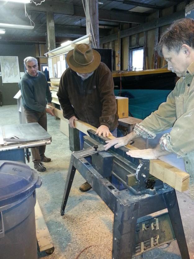 Planning edge of topmast planks