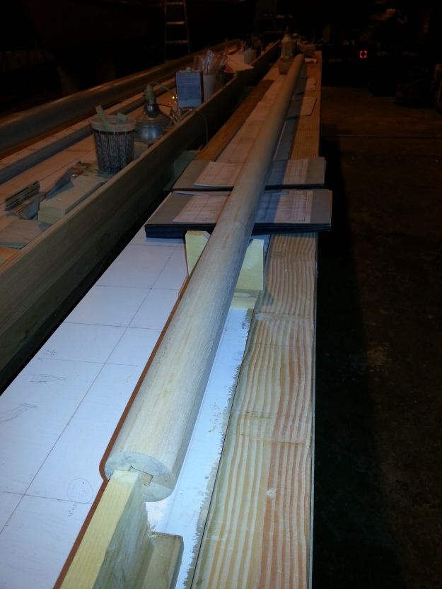 Topmast brought to round shape by planing edges and then sanding with long box