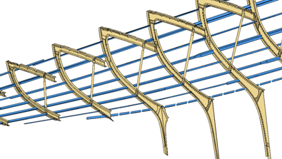 CAD Web-frames and stringers. Since 98% of the vessel is symmetrical, we put just one side into CAD.