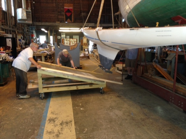3 Boat Hoisted, Steve moves cradle in place