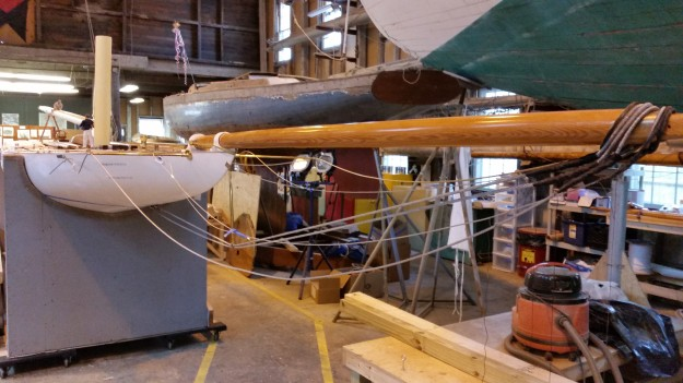 4 Laura splicing bowsprit rigging